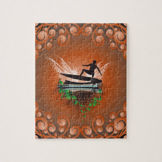 Surfboarder with grunge and leaves jigsaw puzzle
