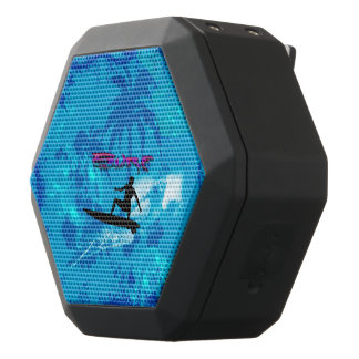 Surfboarder with palm and waves black bluetooth speaker