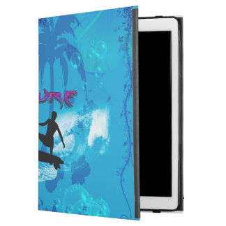 """Surfboarder with palm and waves iPad pro 12.9"""" case"""