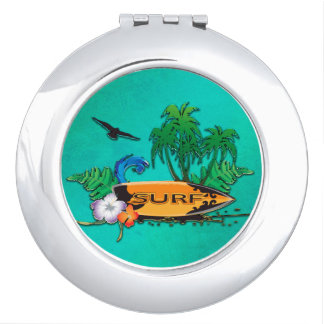Surfboarding, surfboard with palm makeup mirror