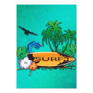 """Surfboarding, tabla hawaiana con la palma invitación 5"""" x 7"""""""