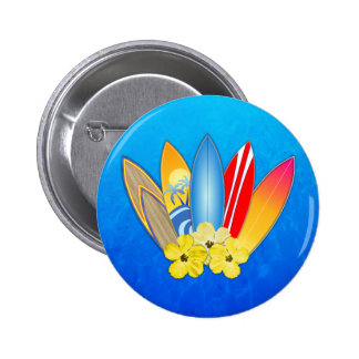 Surfboards And Hibiscus 2 Inch Round Button