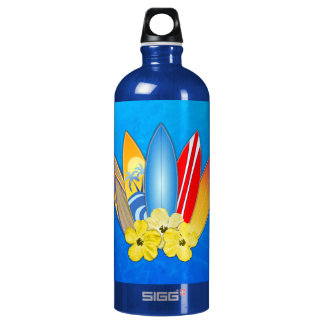 Surfboards And Hibiscus Aluminum Water Bottle