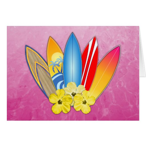 Surfboards And Hibiscus Greeting Cards