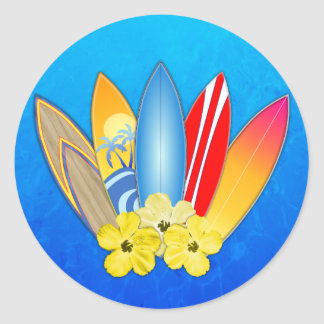 Surfboards And Hibiscus Classic Round Sticker