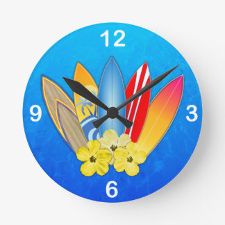 Surfboards And Hibiscus Wallclock