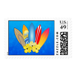 Surfboards And Hibiscus Stamp