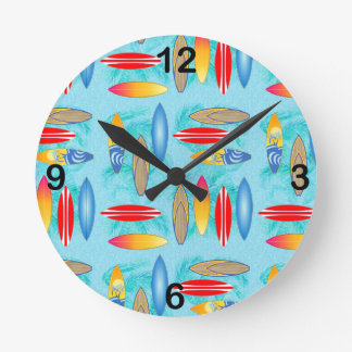 Surfboards And Palm Trees Round Wall Clocks