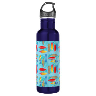 Surfboards And Palm Trees Stainless Steel Water Bottle