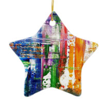 Surfboards at the beach ceramic ornament