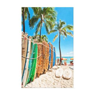 Surfboards at Waikiki Beach, Hawaii Canvas Print