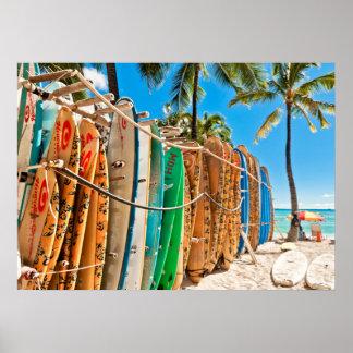 Surfboards at Waikiki Beach, Hawaii Poster