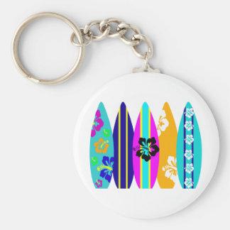 Surfboards Basic Round Button Keychain