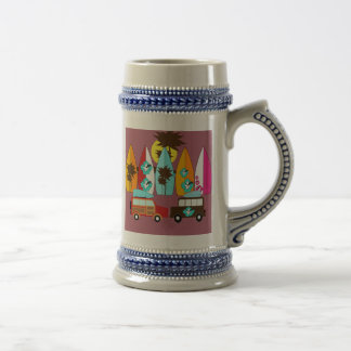 Surfboards Beach Bum Surfing Hippie Vans Beer Stein