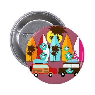 Surfboards Beach Bum Surfing Hippie Vans Pinback Buttons