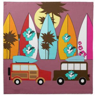 Surfboards Beach Bum Surfing Hippie Vans Cloth Napkin