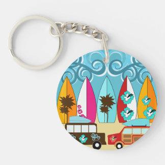 Surfboards Beach Bum Surfing Hippie Vans Double-Sided Round Acrylic Keychain