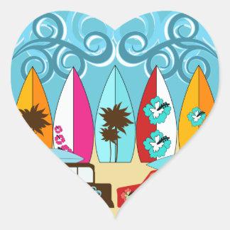 Surfboards Beach Bum Surfing Hippie Vans Heart Sticker
