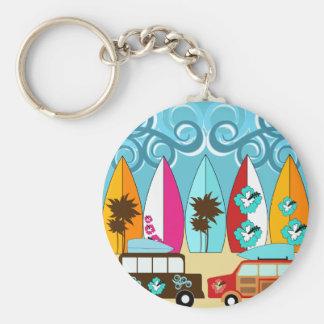 Surfboards Beach Bum Surfing Hippie Vans Keychain