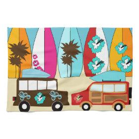 Surfboards Beach Bum Surfing Hippie Vans Kitchen Towel