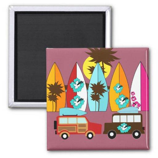 Surfboards Beach Bum Surfing Hippie Vans Refrigerator Magnets