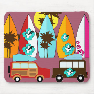 Surfboards Beach Bum Surfing Hippie Vans Mouse Pad