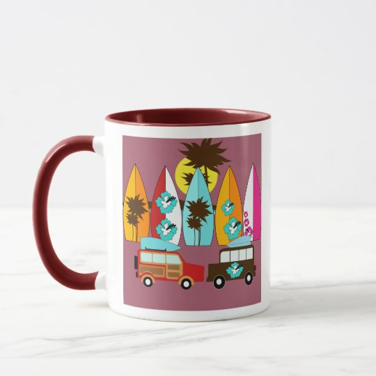 Surfboards Beach Bum Surfing Hippie Vans Mug