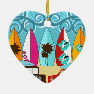 Surfboards Beach Bum Surfing Hippie Vans Double-Sided Heart Ceramic Christmas Ornament