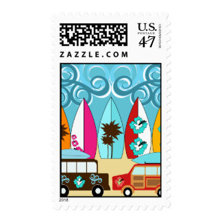 Surfboards Beach Bum Surfing Hippie Vans Postage