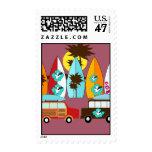 Surfboards Beach Bum Surfing Hippie Vans Postage Stamp