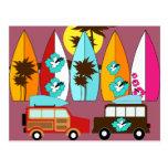 Surfboards Beach Bum Surfing Hippie Vans Post Cards