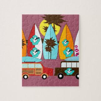 Surfboards Beach Bum Surfing Hippie Vans Jigsaw Puzzle