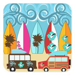 Surfboards Beach Bum Surfing Hippie Vans Square Stickers