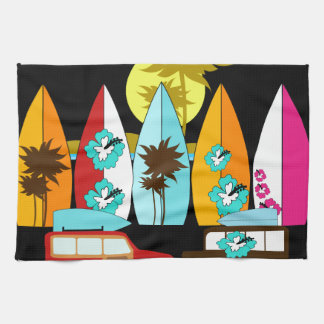 Surfboards Beach Bum Surfing Surfer Hippie Vans Hand Towel