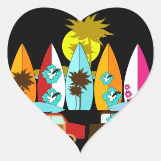 Surfboards Beach Bum Surfing Surfer Hippie Vans Heart Sticker