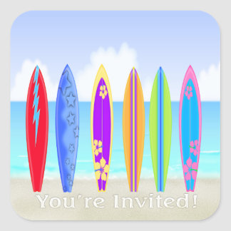 Surfboards Beach Envelope Seal Square Stickers