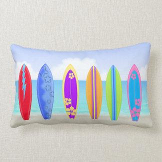 Surfboards Beach Lumbar Pillow