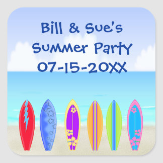Surfboards Beach Party Favor Square Sticker
