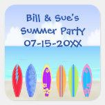 Surfboards Beach Party Favor Sticker