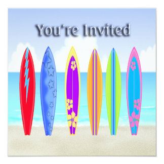 Surfboards Beach Party Invitations