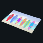 "Surfboards Beach Placemat<br><div class=""desc"">This Surfboards Beach Place mat (20&quot; x 14&quot;) Features a beach background with sand, ocean and sky, 6 colorfully decorated surfboards. Perfect for kitchen or dinning room. Also makes a wonderful housewarming gift! Matching items; pillows, dinner &amp; cocktail napkins, place mats, kitchen towels, tiles/trivets, coaster set, mugs, pitcher, teapot and...</div>"