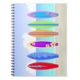 Surfboards Beach Spiral Notebook
