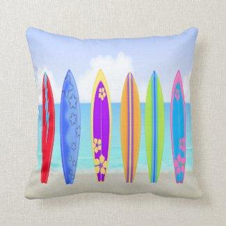 Surfboards Beach Throw Pillow