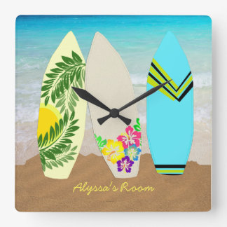 Surfboards in Sand Personalized Square Wall Clock