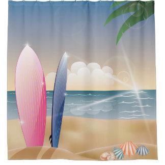 surfboards ocean beach decor shower curtain