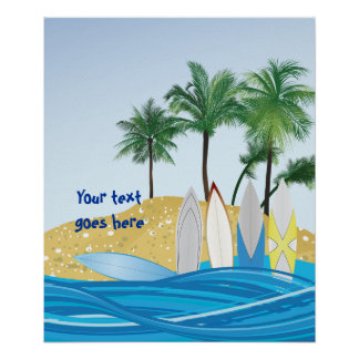 Surfboards on a tropical beach with palm trees poster