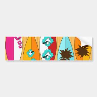 Surfboards on the Boardwalk Summer Beach Theme Bumper Sticker