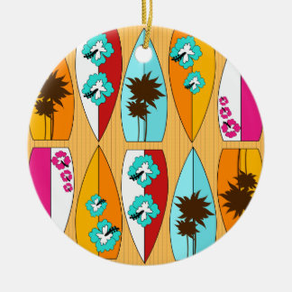 Surfboards on the Boardwalk Summer Beach Theme Ceramic Ornament