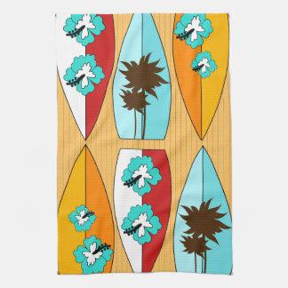 Surfboards on the Boardwalk Summer Beach Theme Kitchen Towel