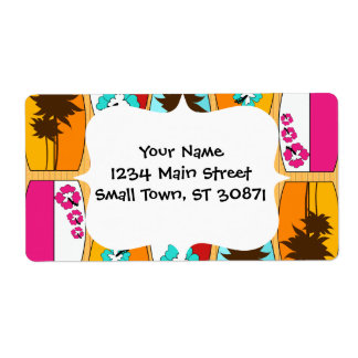 Surfboards on the Boardwalk Summer Beach Theme Label